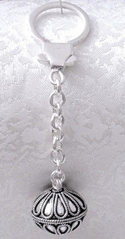 Turkish Full Sterling Silver Keychain Keyring 14 gram 9 cm