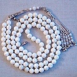 Turkish Mother of Pearl Islamic Prayer Beads Tasbih 99 w/silver