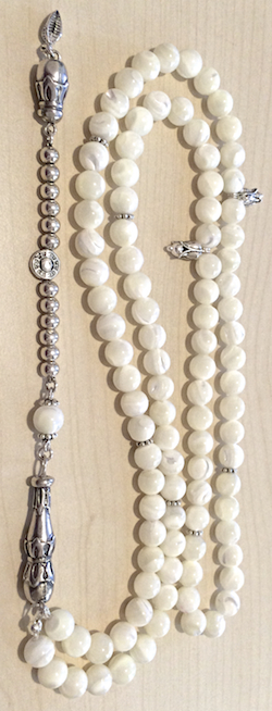 Islamic Prayer Beads 99 Namaz Tasbih Mother of Pearl w/ silver 8 mm