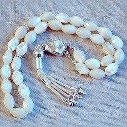 Turkish Islamic Prayer Beads Tasbih Mother of Pearl w/silver