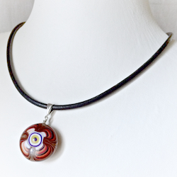 Turkish Murano Glass Evil Eye Silver and Leather Choker Necklace Red