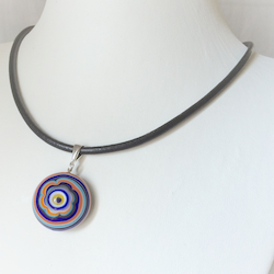 Turkish Murano Glass Evil Eye Silver and Leather Choker Necklace Orange