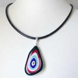 Turkish Murano Glass Evil Eye Silver and Leather Choker Necklace