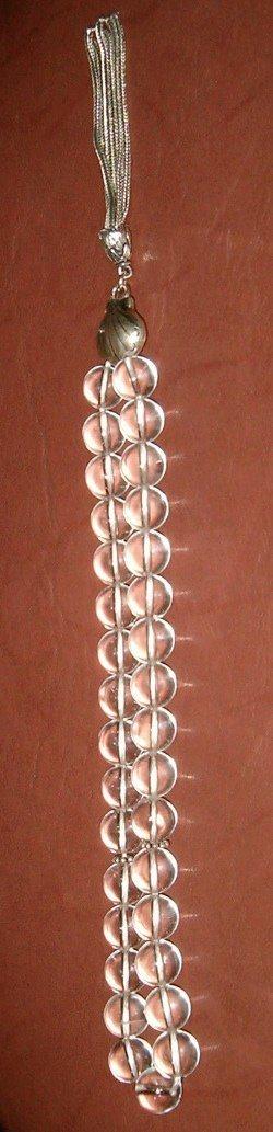 Turkish Uncut Najaf Quartz Islamic Prayer Beads Tasbih w/silver
