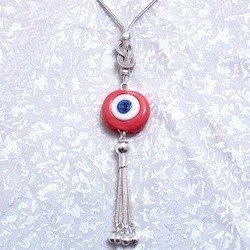 Turkish Sterling Silver Authentic Glass Evil Eye Necklace Pendant 20 inch