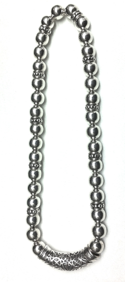 Turkish Full Sterling Silver Beaded Necklace 12 mm 86 gram 48 cm
