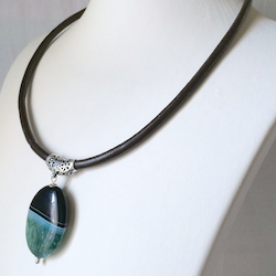 Agate on leather choker necklace with Turkish sterling silver 18 inch
