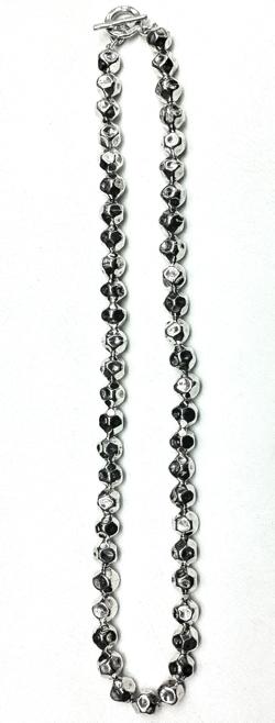 Turkish Full Sterling Silver Hammered Necklace 10 mm 54 gram 48 cm
