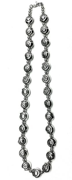Turkish Full Sterling Silver Beaded Necklace 12 mm 54 gram 48 cm