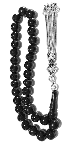 Turkish Black Amber Oltu Islamic Prayer Beads Tasbih 8 mm w/silver