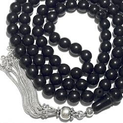 Turkish Black Amber Oltu Islamic Prayer Beads 99 Tasbih 9 mm w/silver