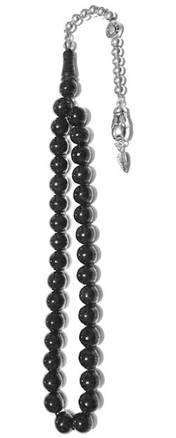 Turkish Black Amber Oltu Islamic Prayer Beads Tasbih 9.5 mm w/silver