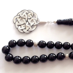 Turkish Black Amber Oltu Islamic Prayer Beads Large Tasbih silver medallion