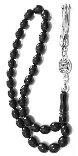 Turkish Black Amber Oltu Islamic Prayer Beads Tasbih 9 mm w/silver Oval