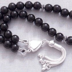 Turkish Islamic Prayer Beads Tasbih Quartz Onyx 8 mm w/silver
