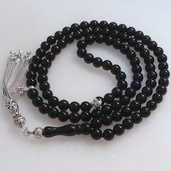 Turkish Islamic Prayer Beads 99 Tasbih Quartz Onyx 6 mm w/ silver