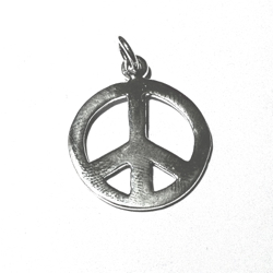 Turkish Sterling Silver Peace Charm Pendant 25 mm 2.9 gram