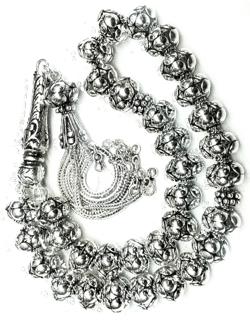Turkish Full Sterling Silver Islamic Prayer Beads Tasbih 10 mm 65 gram