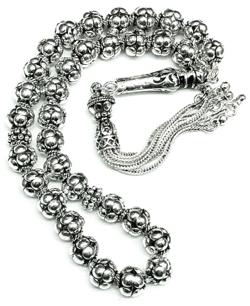 Turkish Full Sterling Silver Islamic Prayer Beads Tasbih 8 mm 51 gram