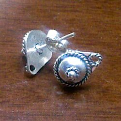 Pair of Turkish Sterling Silver Blank Post Stud Earrings 8 mm 2 gram