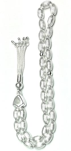 Turkish Islamic Prayer Beads Full Silver Tasbih oval stripes 10 mm 27 gram