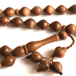 Turkish Rose Wood Islamic Prayer Beads Tasbih 33 Shiny