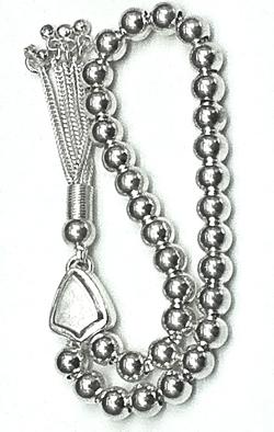 Turkish Islamic Prayer Beads Full Silver Tasbih 6 mm 16 gram