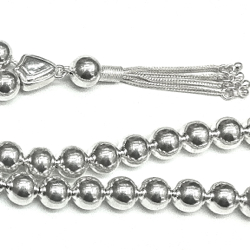 Turkish Islamic Prayer Beads Full Silver Tasbih 10 mm 43 gram