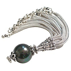 Turkish Sterling Silver Tassel Seashell Pearl Black 10 cm