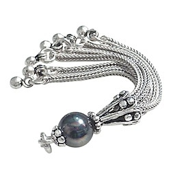 Turkish Sterling Silver Tassel Seashell Pearl Black 6 cm