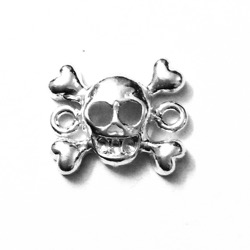 Sterling Silver Charm Pendant Skull and Bones 12 mm 2 gram