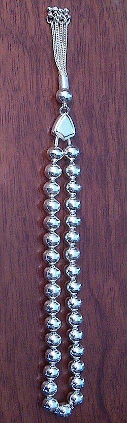Full Sterling Silver Islamic Prayer Beads Tasbih 8 mm 33 gram