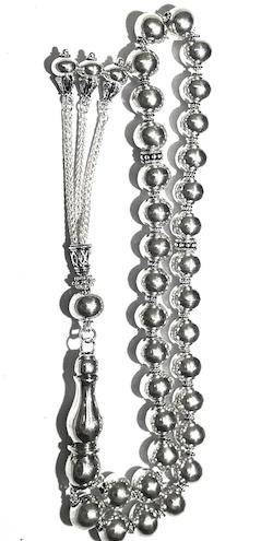 Turkish Full Sterling Silver Islamic Prayer Beads Tasbih 69 gram 13 inch