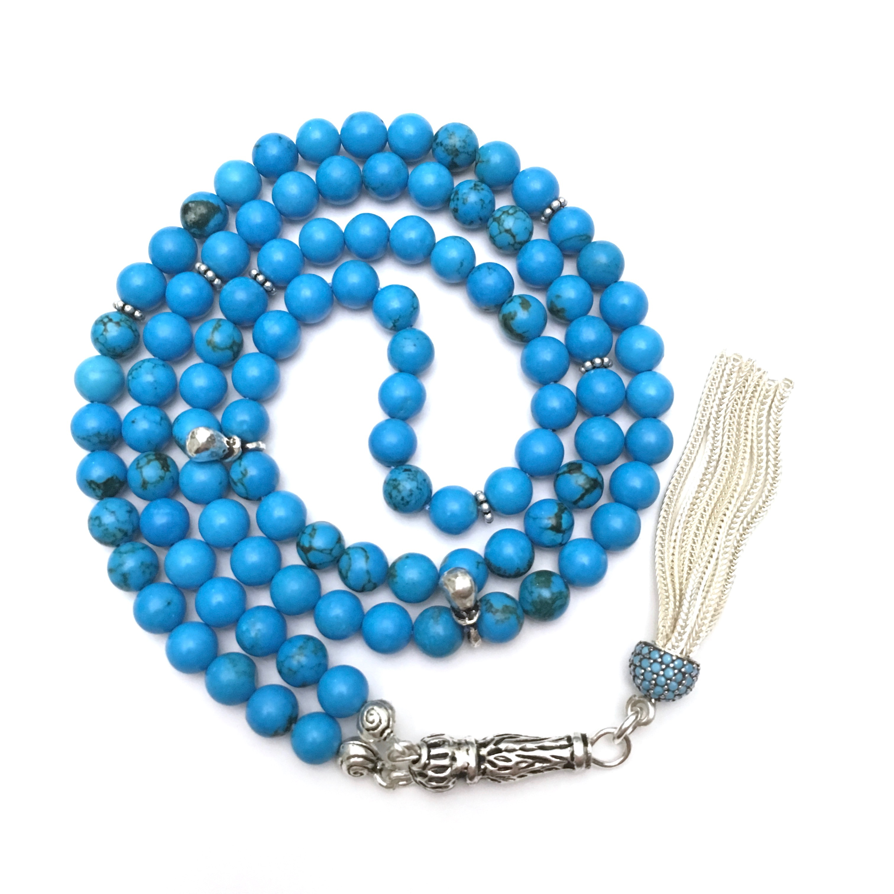 Islamic Prayer Beads 99 Howlite Tasbih sterling silver
