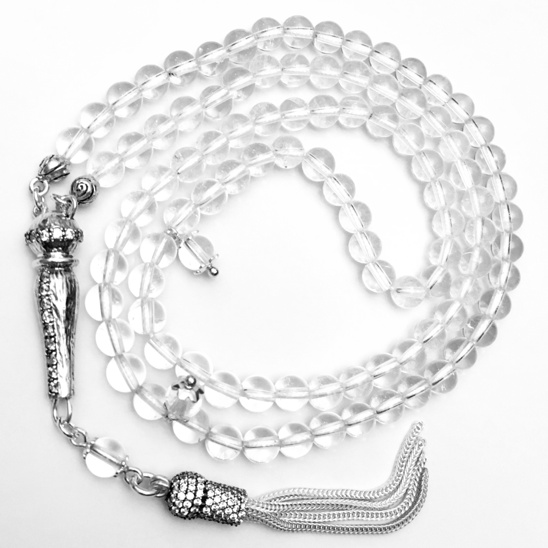 Najaf Quartz Islamic Prayer Beads Tasbih silver cubic zirconia