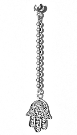 Sterling silver tasbih top with Hamsa 4 gram 85 mm