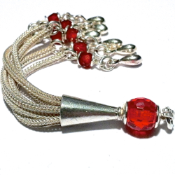 Turkish Sterling Silver Tassel with Red Cubic Zirconia 85 mm