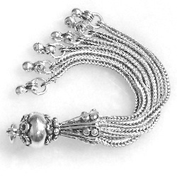 Turkish Sterling Silver Bead Tassel 7.3 gram 75 mm
