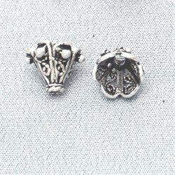 Lot of 2 Turkish Sterling Silver Bead Caps 7 mm 1.5 gram