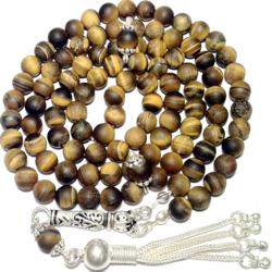 Turkish Islamic Prayer Beads 99 Tasbih Matte Tiger Eye w/silver
