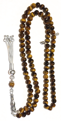 Islamic Prayer Beads 99 Tasbih Tigers Eye 6 mm w/ silver