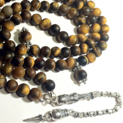 Turkish Islamic Prayer Beads 99 Tasbih Matte Tiger Eye w/antique silver chain