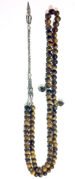 Turkish Islamic Prayer Beads 99 Tasbih Matte Tiger Eye w/antique silver chain