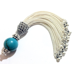 Turkish Sterling Silver Tassel with Turquoise Bead 85 mm