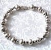 Full Sterling Silver Beaded Bracelet 14 gram ID # 4565