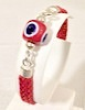 Turkish Braided Leather Bracelet With Sterling Silver and Red Evil Eye ID # 6653