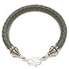 Braided Leather Bracelet with Sterling Silver ID # 6664