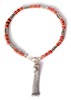 Sterling Silver Red Coral charm bracelet with tassel ID # 6622
