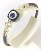 Turkish Leather Bracelet With Sterling Silver and Blue Evil Eye ID # 6648