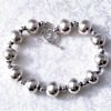 Full Sterling Silver Beaded Bracelet 21 gram ID # 4567
